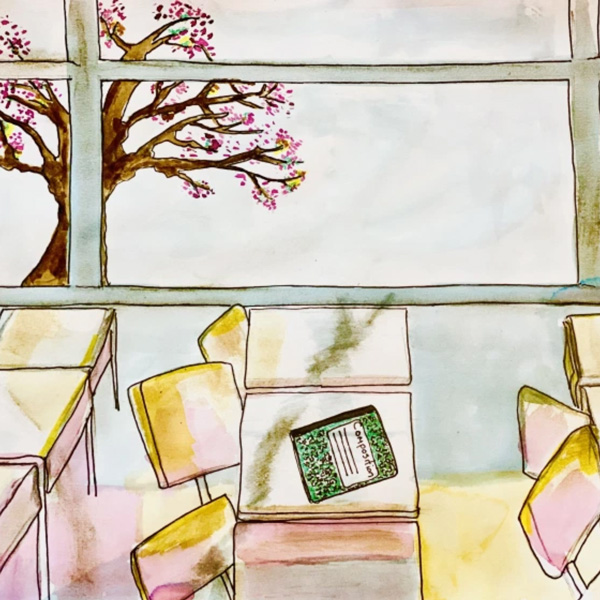 Illustration of a composition book on a desk and cherry blossom tree outside the window